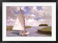 Catboat Through the Marsh Framed Print