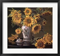 Framed Sunflowers in a Chinese Vase