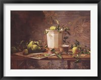 Pears and Tapestry Framed Print