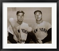 Framed American Hero's Joe Dimaggio & Mickey Mantle