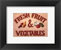 Framed Fruits & Vegetables Sign