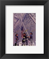 Framed Firemen Raising the Flag at World Trade Center