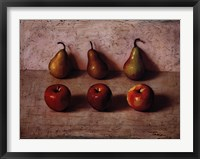 Framed 3 Apples and 3 Pears