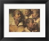 Framed Four Negro Heads