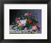 Framed Still Life with Flowers and Bird Nest