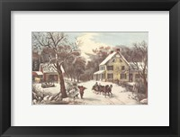 Framed American Homestead Winter