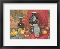 Framed Lemons with Black Vase