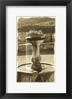 Fountain Overlooking City Framed Print