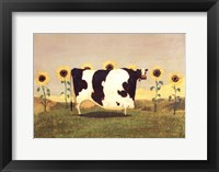 Framed Cow With Sunflowers