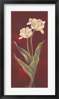 Tulips on Cinnabar I Framed Print