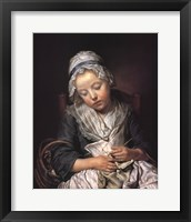 Framed Young Knitter Asleep