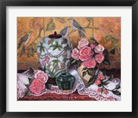 Framed Roses with Green Jar