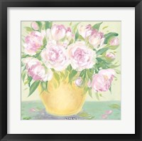 Yellow Vase Peonies II Framed Print