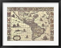Map of North and South America Framed Print
