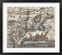 Map of North Eastern America Framed Print