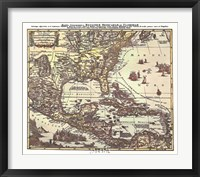 Map of South Eastern America Framed Print