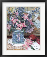 Framed Pink Tiger Lilies with Cinnabar