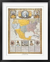 Framed Ornamental Map/United States and Mexico