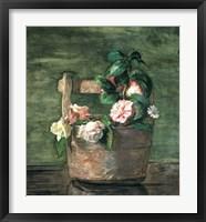 Framed Camellias & Roses in Japanese Vase