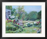 Watering the Peonies Framed Print