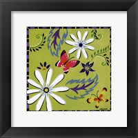 Daisies And Butterflies-Green Framed Print