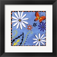 Daisies And Butterflies-Blue Framed Print