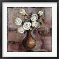 Roses on White Background Framed Print