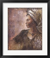 Framed Raffia Robed Lady I