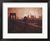 Framed Les Amoureux de Brooklyn Bridge
