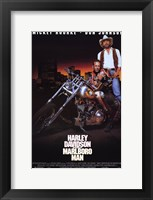 Framed Harley Davidson and Marlboro Man Don Johnson