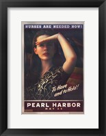 Framed Pearl Harbor Art Deco Nurses Are Needed Now