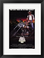 Framed Harley Davidson and Marlboro Man Mickey Rourke