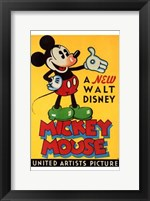 Framed New Walt Disney Mickey Mouse in Yellow