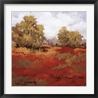 Framed Scarlet Fields I