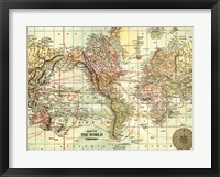 Framed World Map with black border