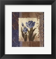 Blue Tulip Scroll Framed Print
