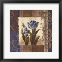 Framed Blue Tulip Scroll