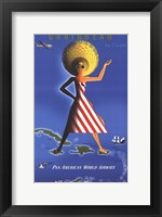 Framed Panam Caribbean Travel Poster