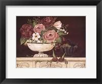 Floral W-Black Bird Framed Print