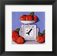 Peaches on Scale Framed Print