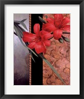 Framed Orchid Red/Teal Damasque