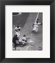 Framed Jackie Robinson - baseball action