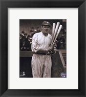 Framed Babe Ruth - with 3 bats
