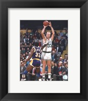 Framed Larry Bird Taking A Shot And Magic Johnson