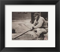 Framed Honus Wagner - In dugout with bats