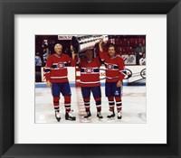 Framed Jean Beliveau / Henri Richard / Guy Lafleur - Holding Stanley Cup