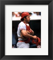 Framed Johnny Bench - Holding catchers mask