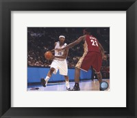 Framed LeBron James/Carmelo Anthony - Court Action