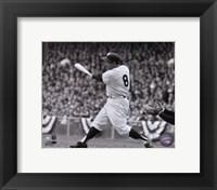 Framed Yogi Berra - batting action/B&W