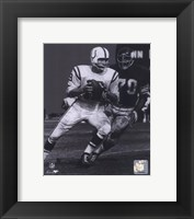Framed Johnny Unitas - Passing Action (B&W)